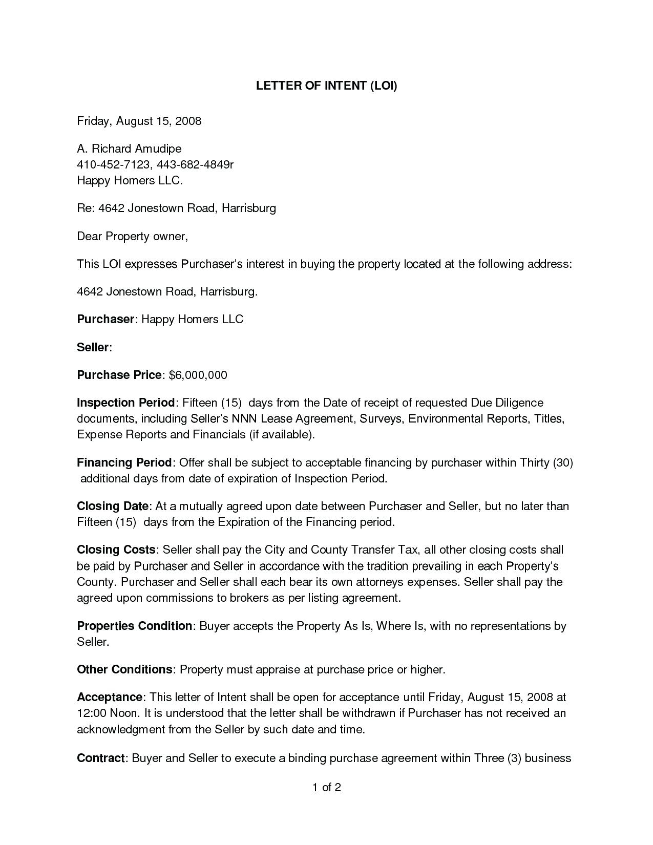 Commercial Real Estate Letter Of Intent to Purchase Template - Letter Intent to Purchase Template Agreement Real Estate