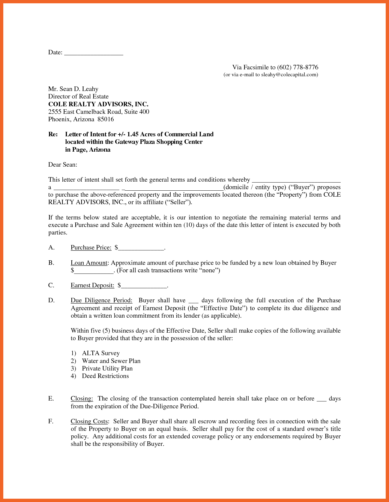 Letter Of Intent to Sell House Template - Letter Intent to Sell Home Sample Sale Business Property Template