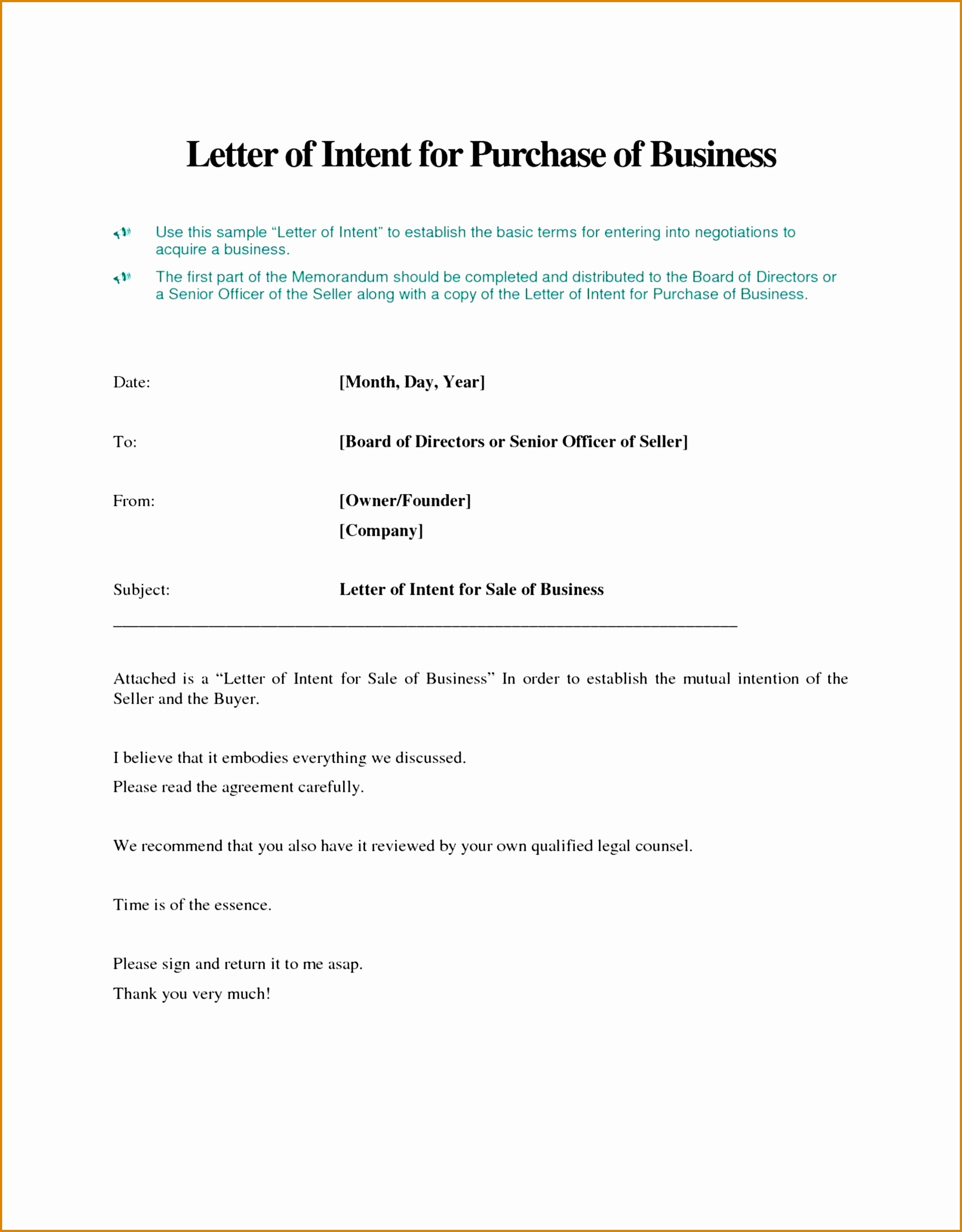 Letter Of Intent to Purchase Land Template - Letter Intent to Sell Ideas How Write Business House