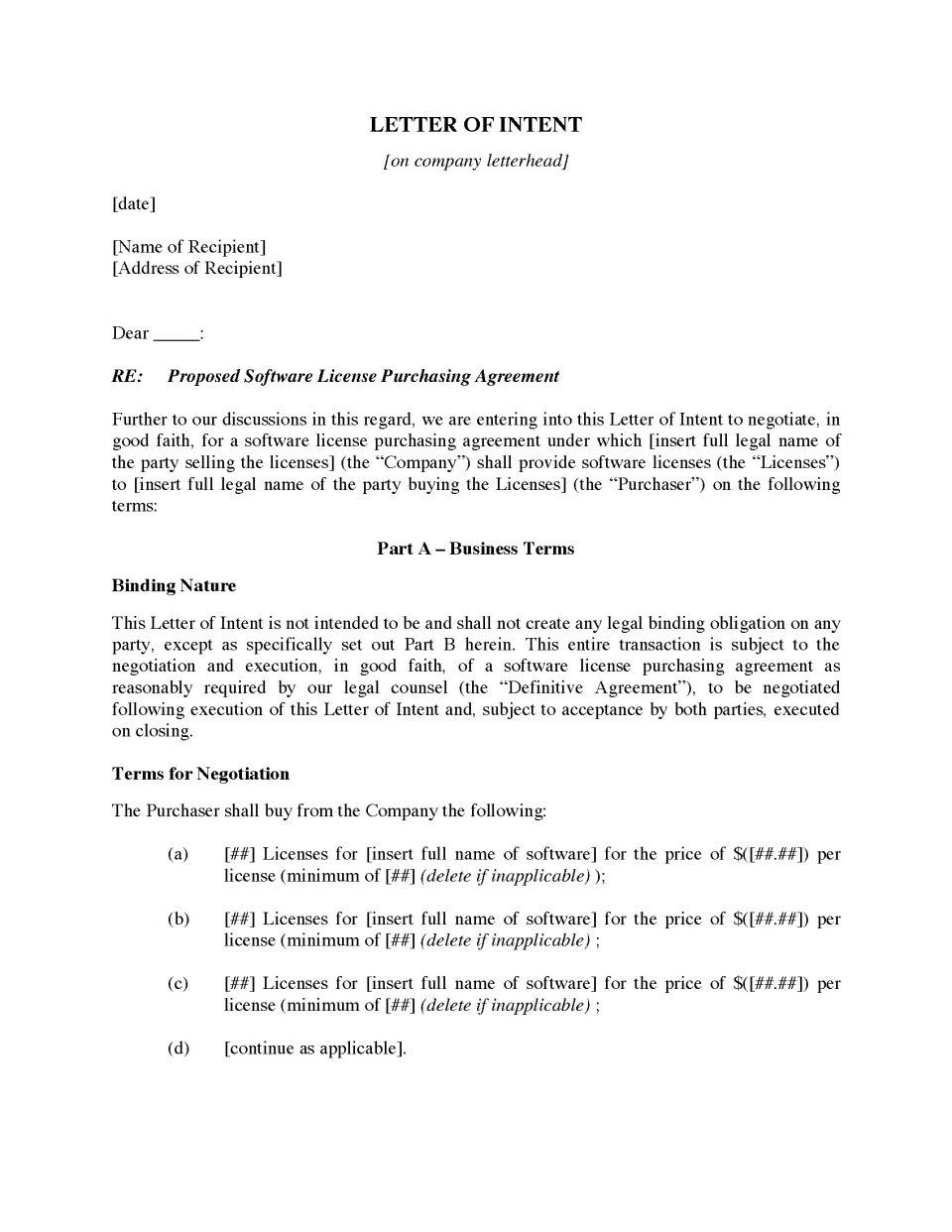 Is A Letter Of Intent Binding In Canada