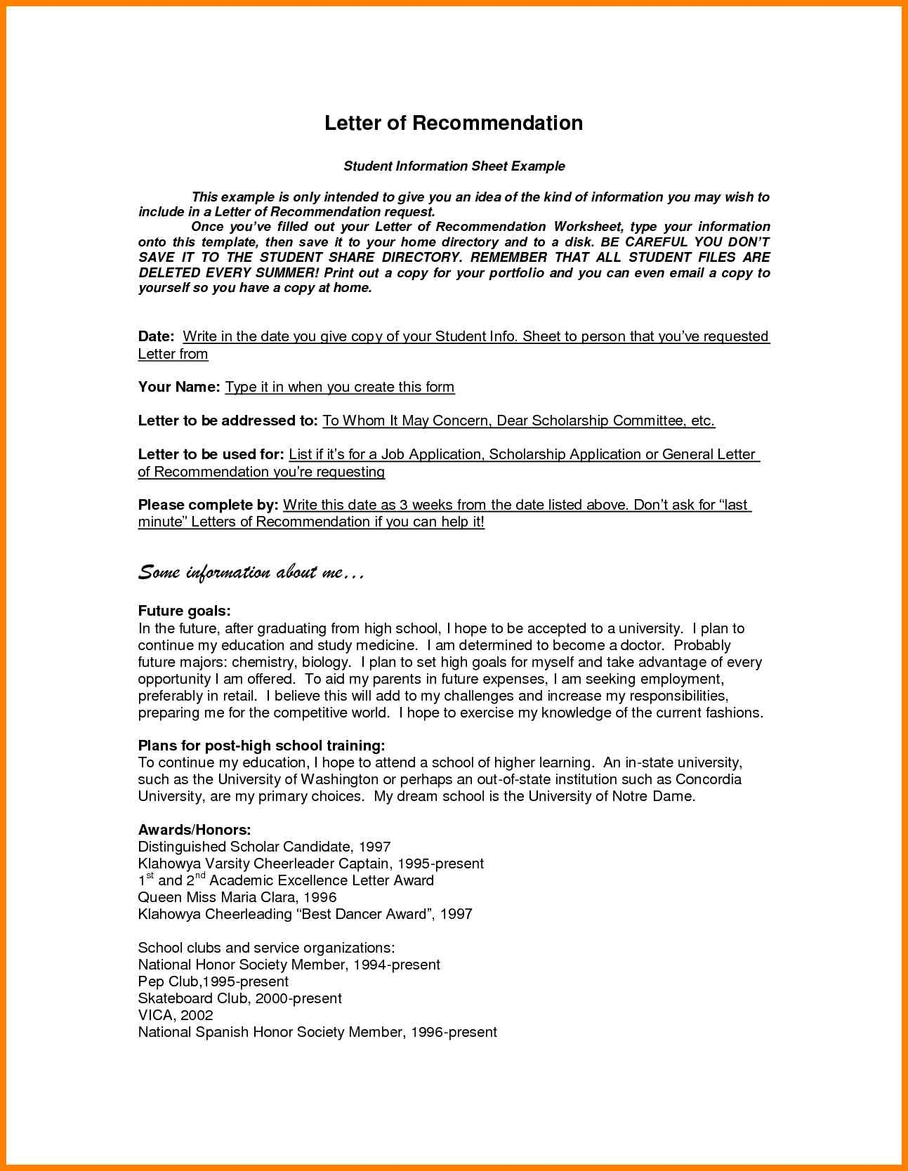 General Letter Of Recommendation Template - Letter
