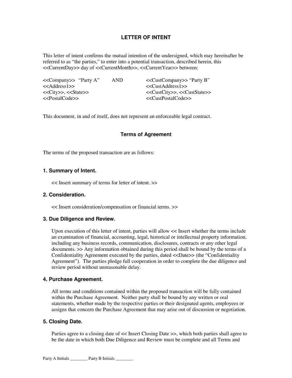 Subcontractor Letter Of Intent Template Examples Letter Template