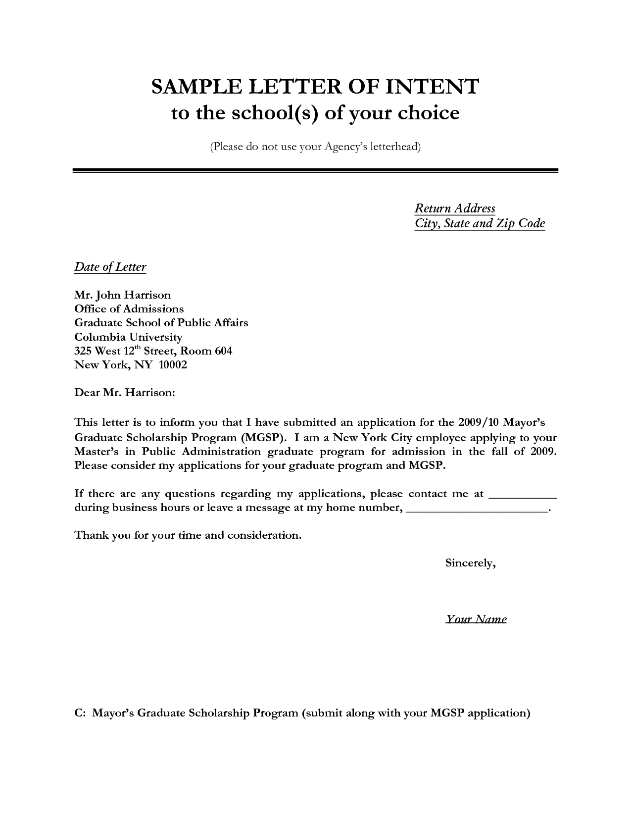 Letter to Creditors Template - Letter Of Intent Sample