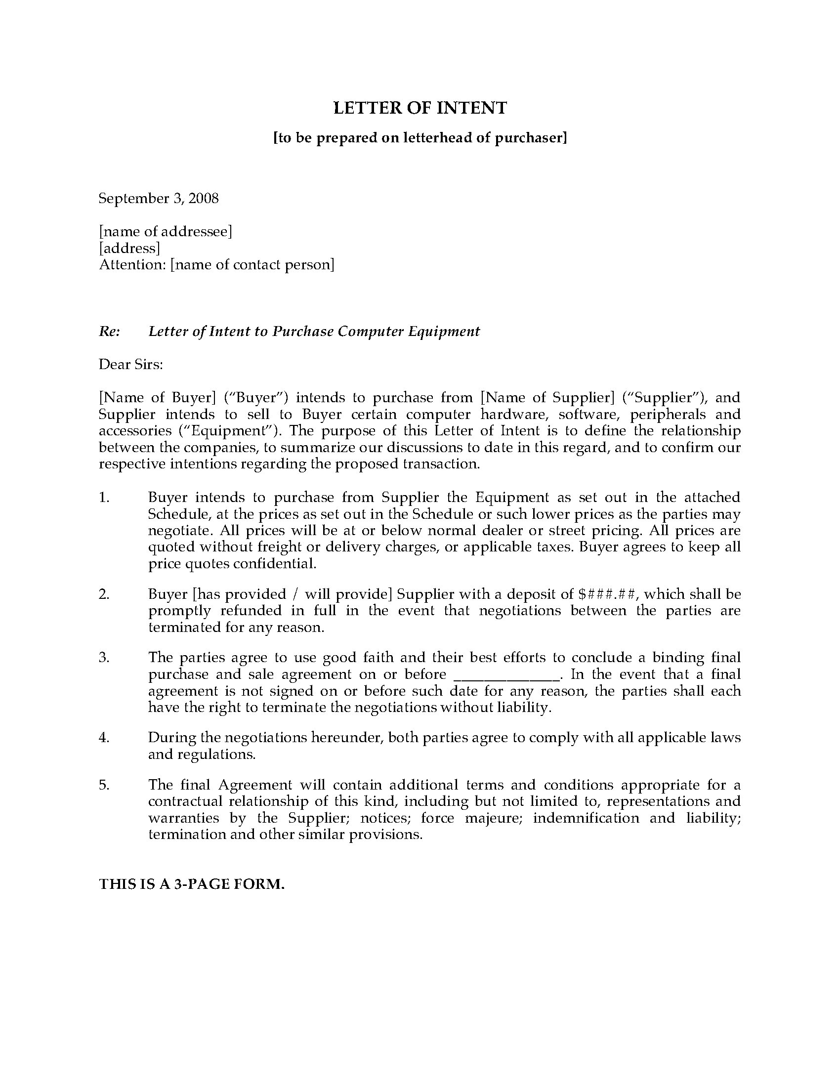 Letter Of Intent to Purchase Equipment Template - Letter Of Intent to Purchase Puter Equipment