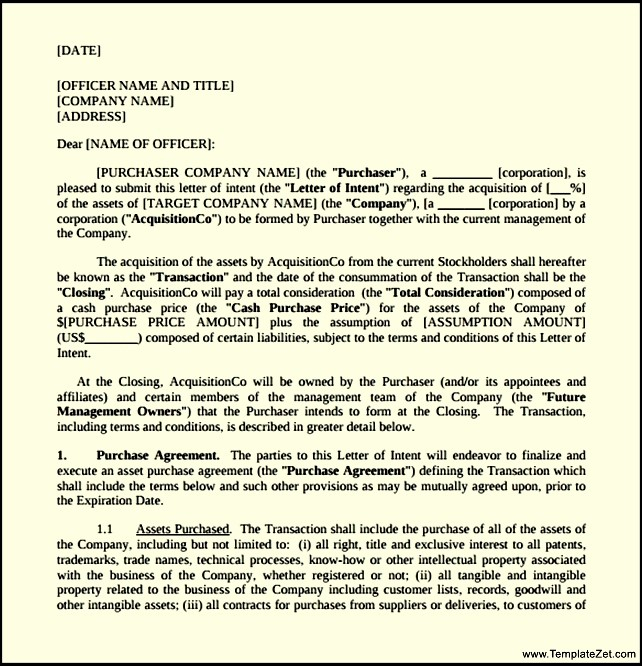 Letter Of Intent to Purchase Equipment Template - Letter Of Intent to Purchase Template