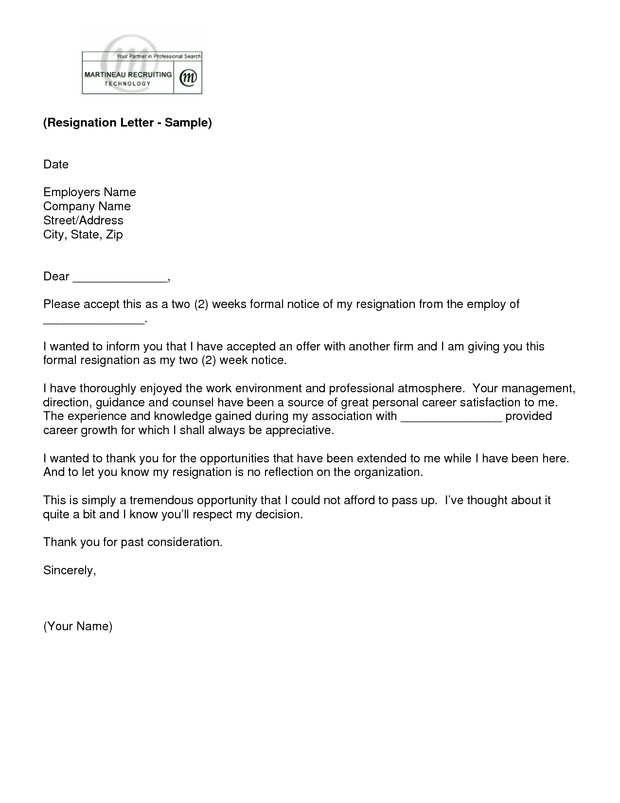 2 Week Resignation Letter Template - Letter Of Resignation 2 Weeks Notice Template
