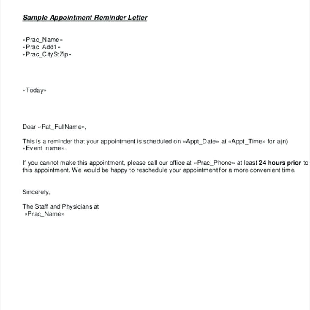 Appointment Reminder Letter Template