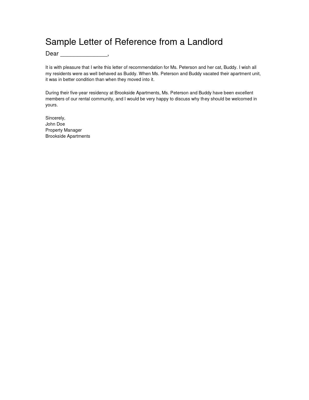 Landlord Reference Letter Template - Letter Re Mendation From Landlord Letter Of Re Mendation