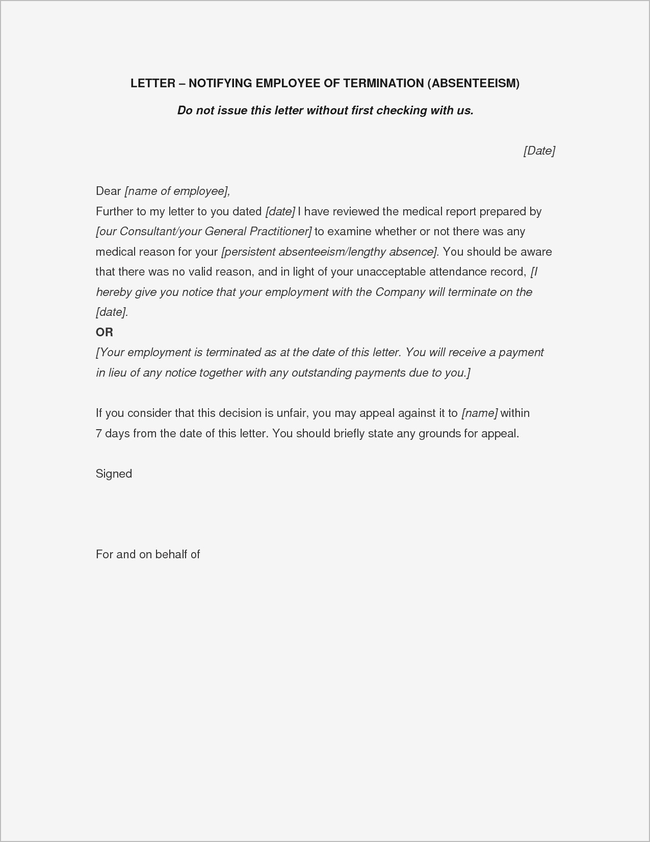 Letter Of Separation From Employer Template - Letter Separation From Employer Ideas