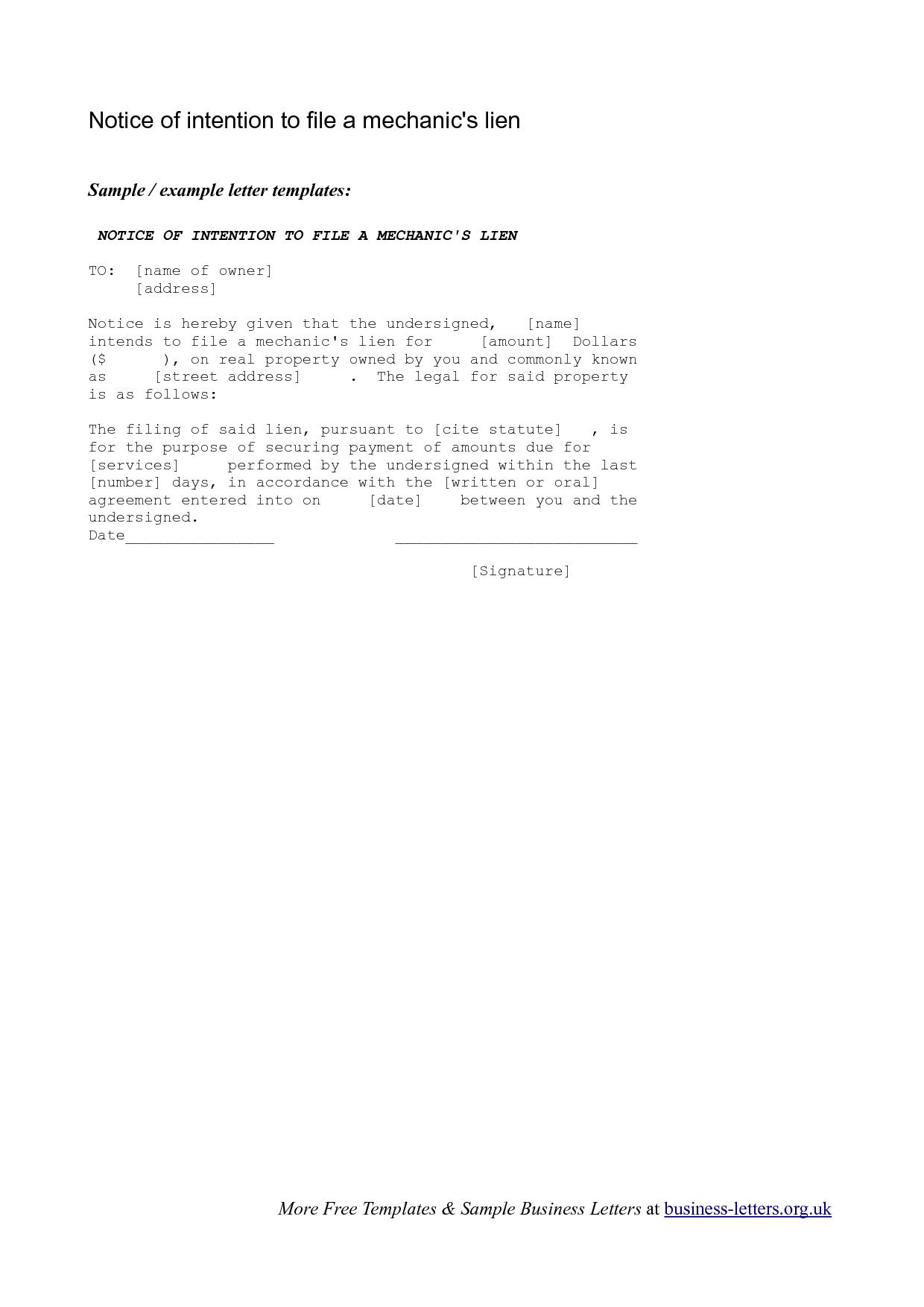 Notice Of Lien Letter Template - Letter T to File Lien Mechanics Motavera Inspirations