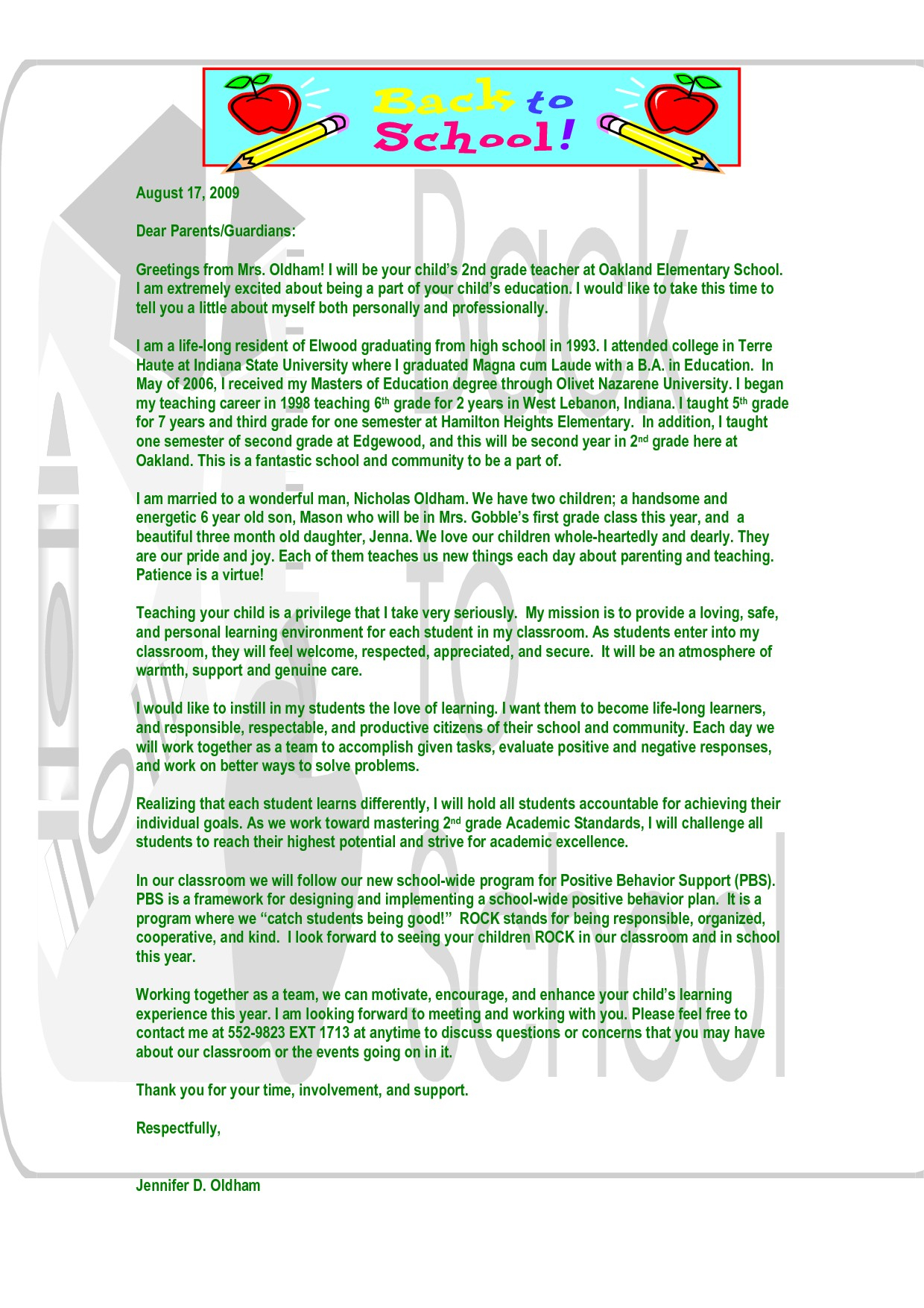 Teacher Welcome Letter to Parents Template - Letter Template for Parents From Teachers Refrence Best S