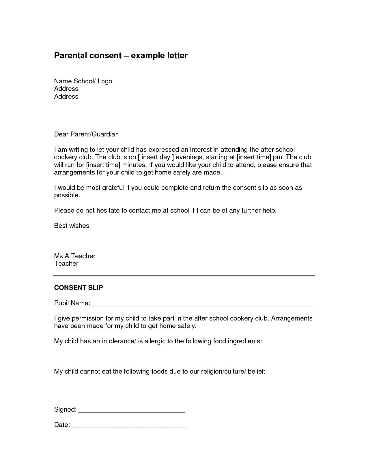 Parental Consent Letter Template Samples Letter Template Collection