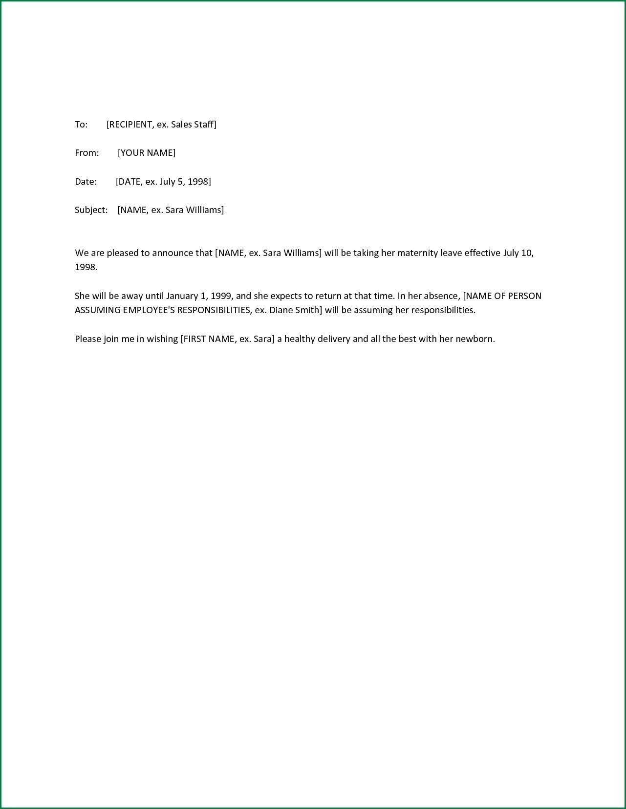 Maternity Return To Work Letter From Employer Template Collection