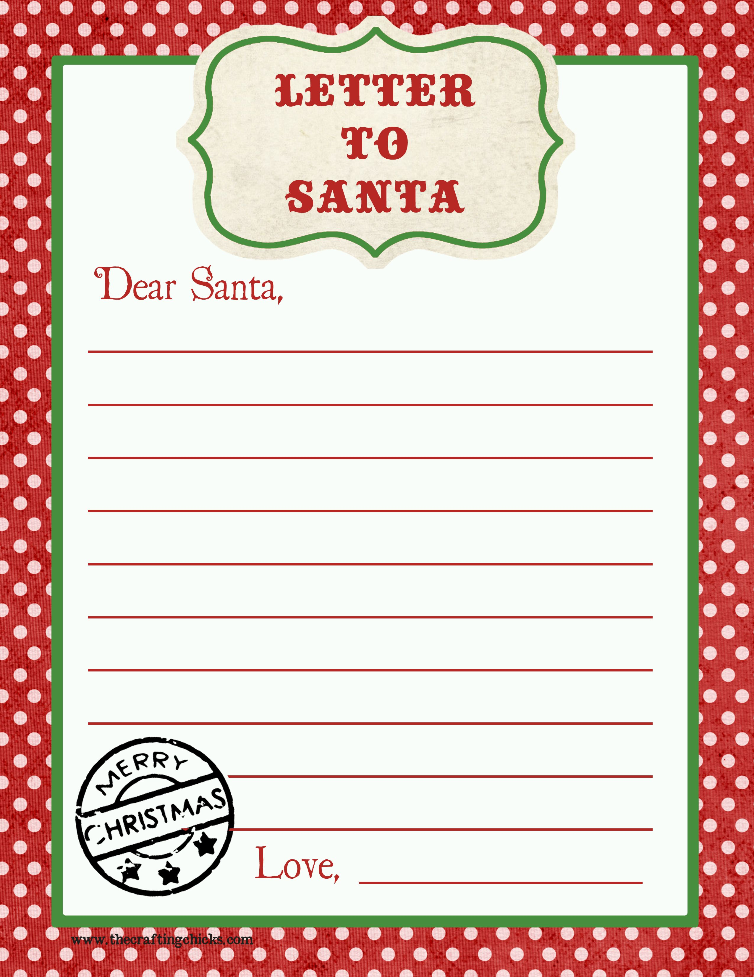 Free Letter Santa Template Download - Letter to Santa Free Printable Download