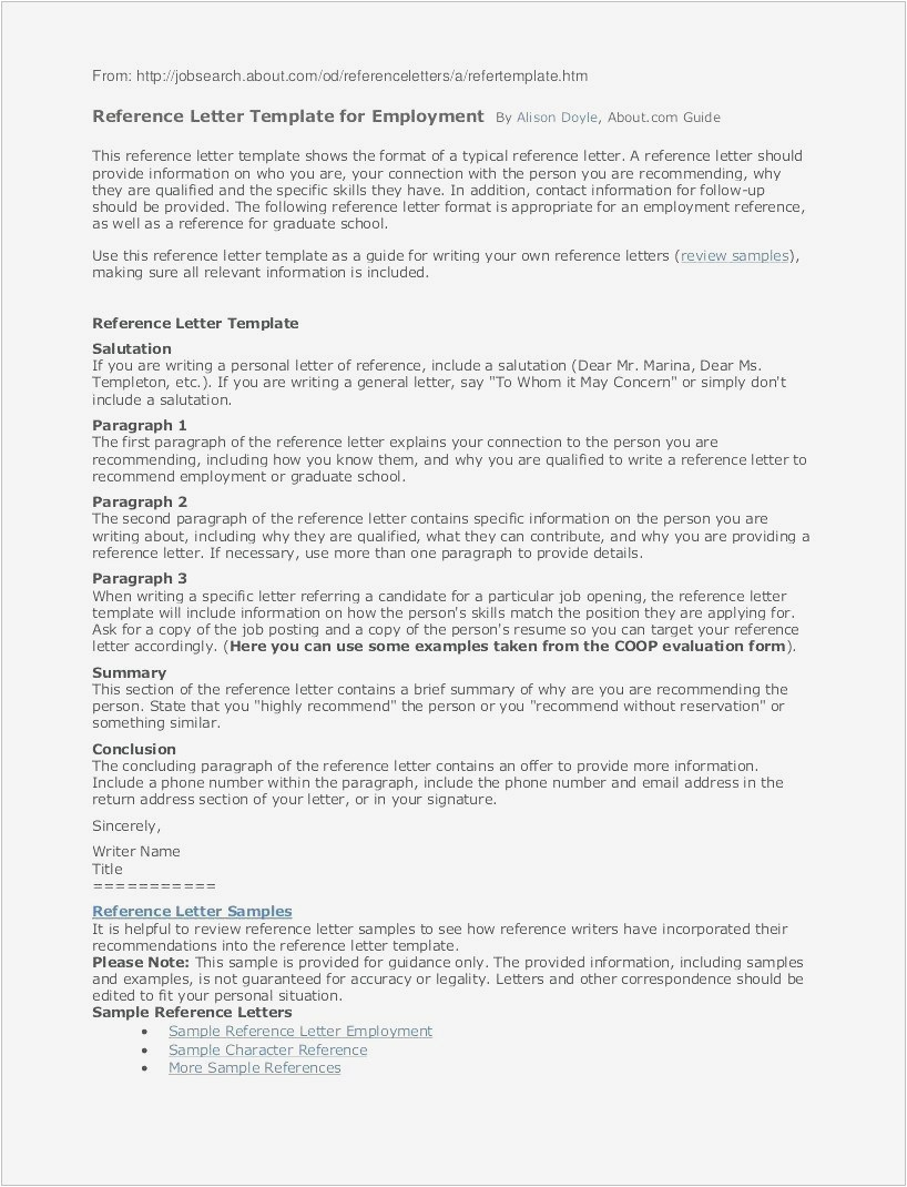 Free Employment Reference Letter Template - Letters Re Mendation format format Letter Reference Free