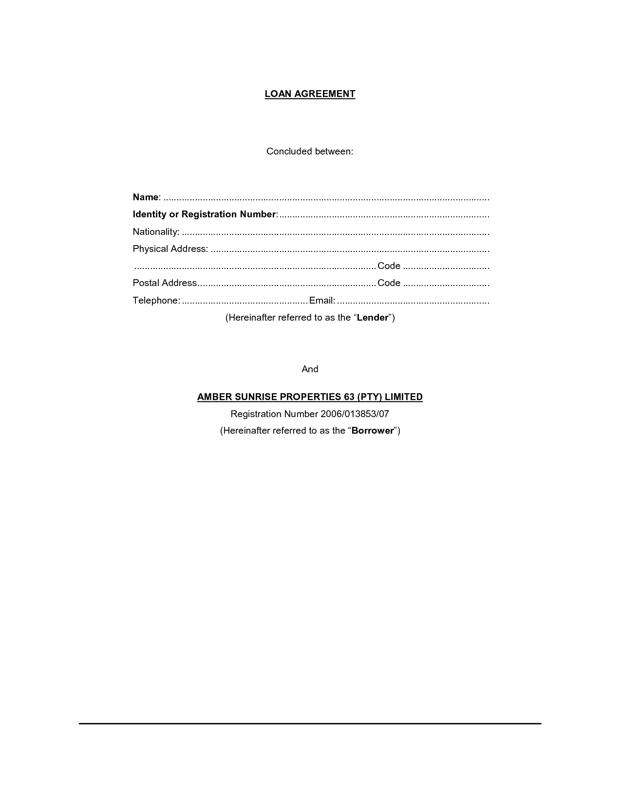 Promissory Letter Template - Loan Agreement Template Free Simple Loan Contract