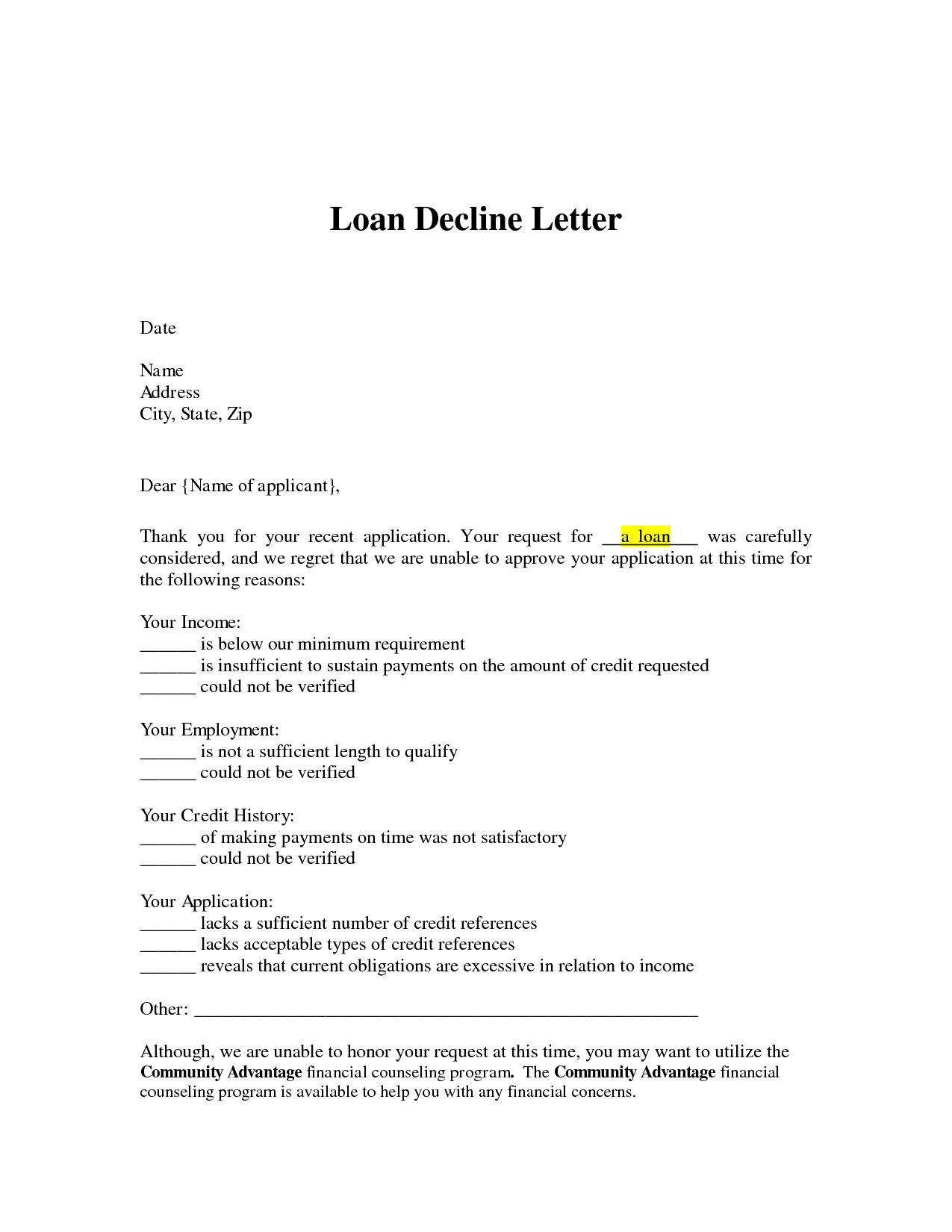 Claim Denial Letter Template - Loan Decline Letter Loan Denial Letter Arrives You Can Use that