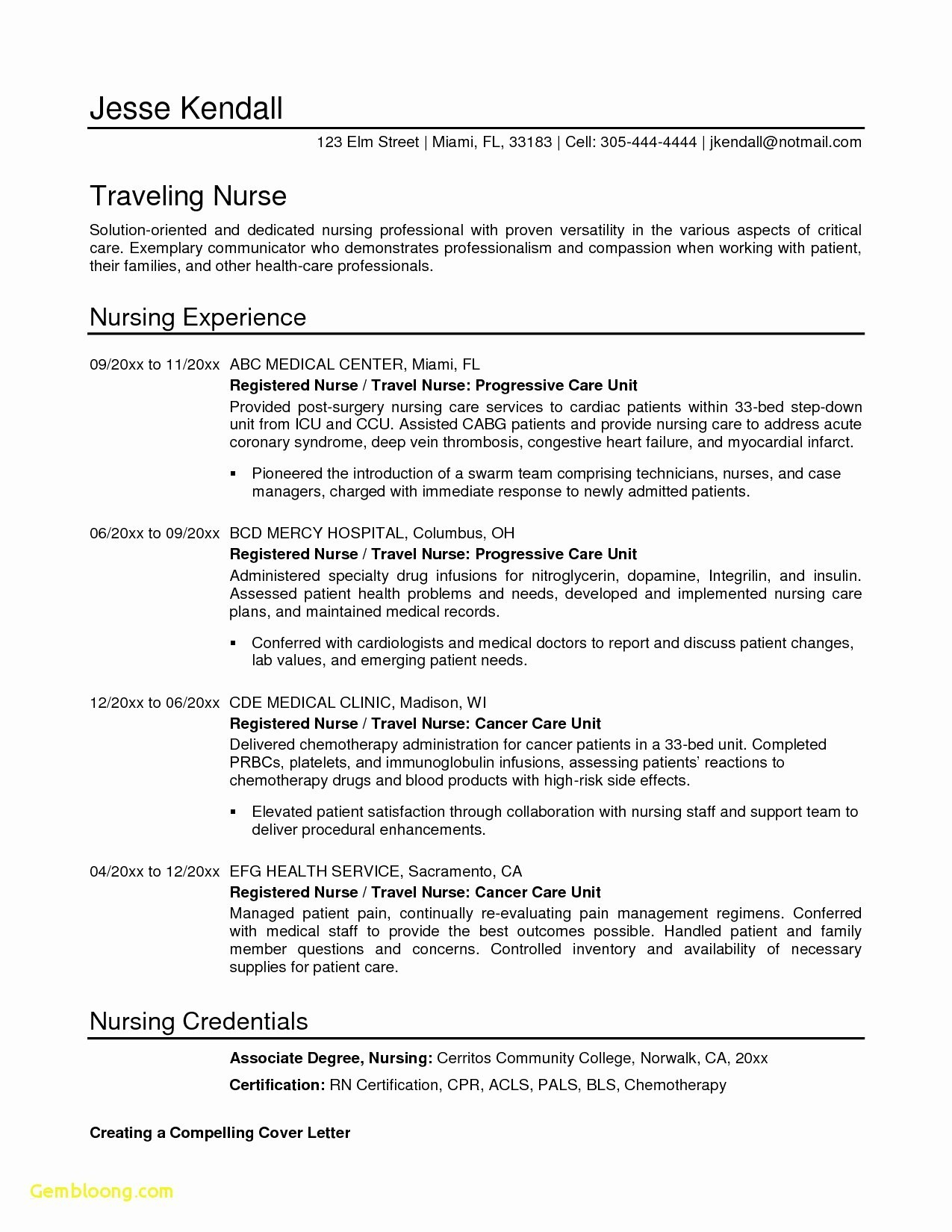 Nursing Resume Cover Letter Template Free - Lovely Free Cover Letter Template