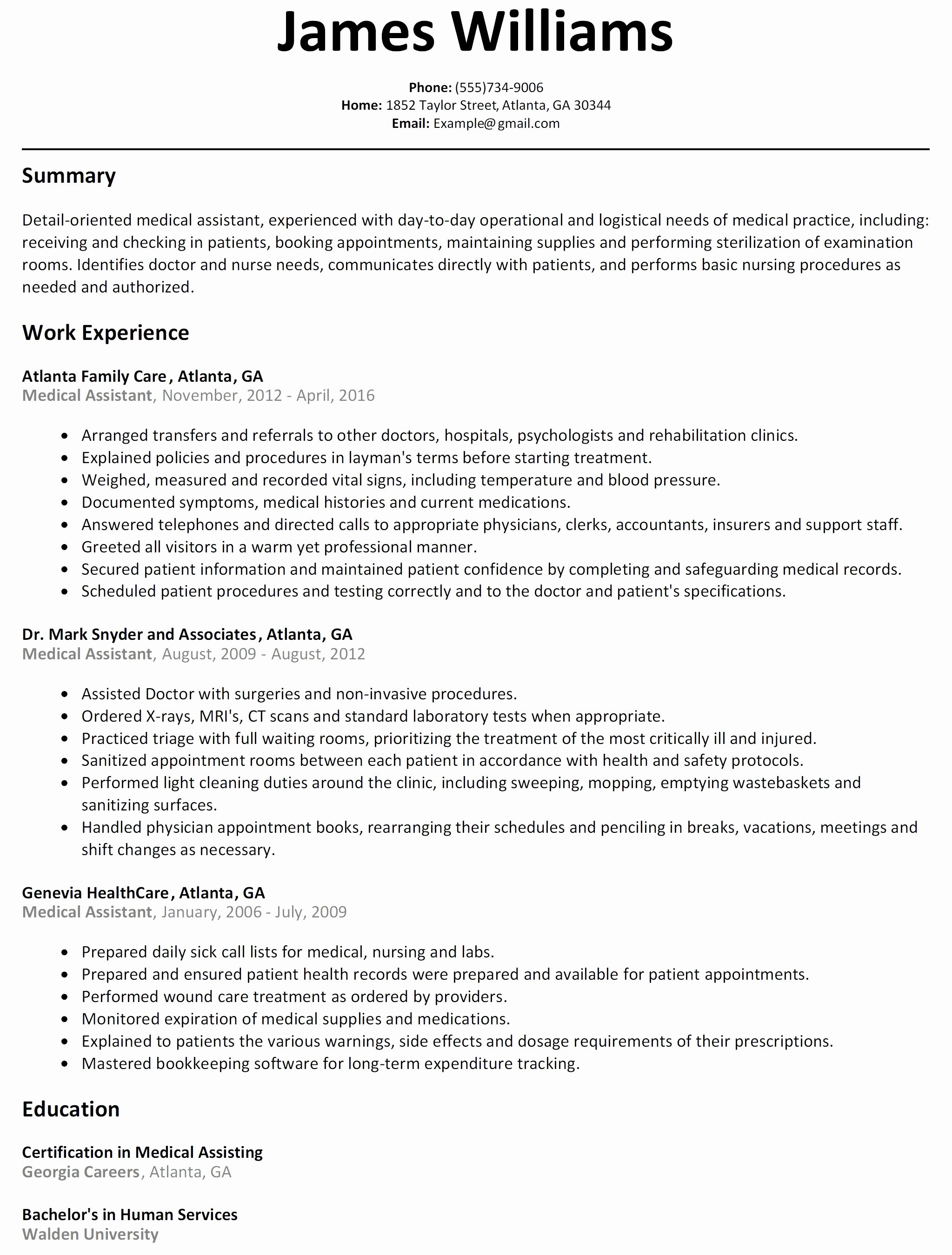 Resume Cover Letter Template for Medical assistant - Medical asistant Resume Myacereporter Myacereporter