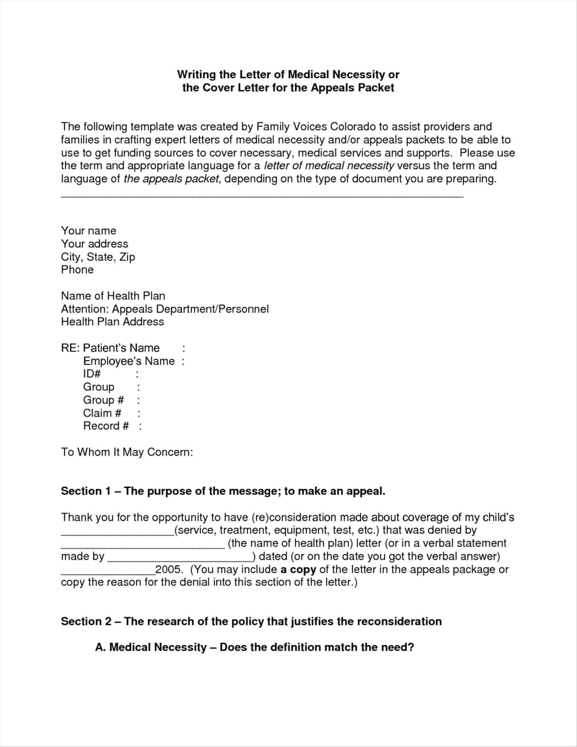 Medical Necessity Appeal Letter Template Samples | Letter Template