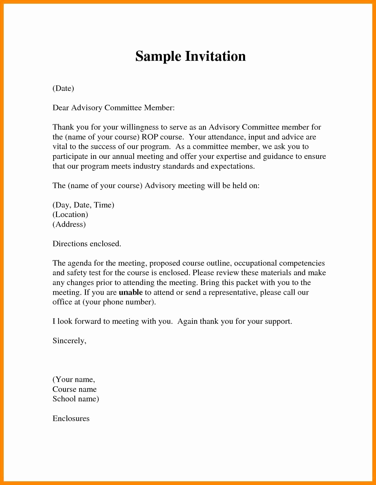 Board Member Invitation Letter Template Examples