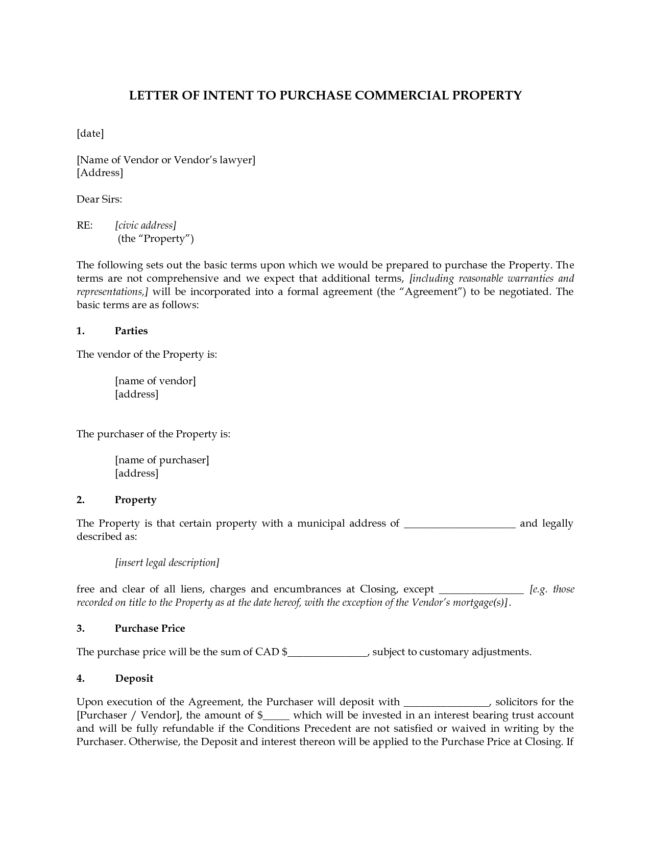 commercial real estate lease letter of intent template examples