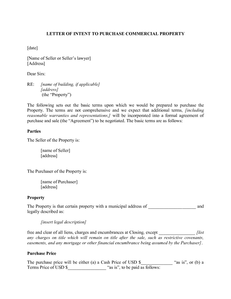 Letter Of Intent Template Commercial Lease - Mercial Real Estate Purchase Letter Intent Sample