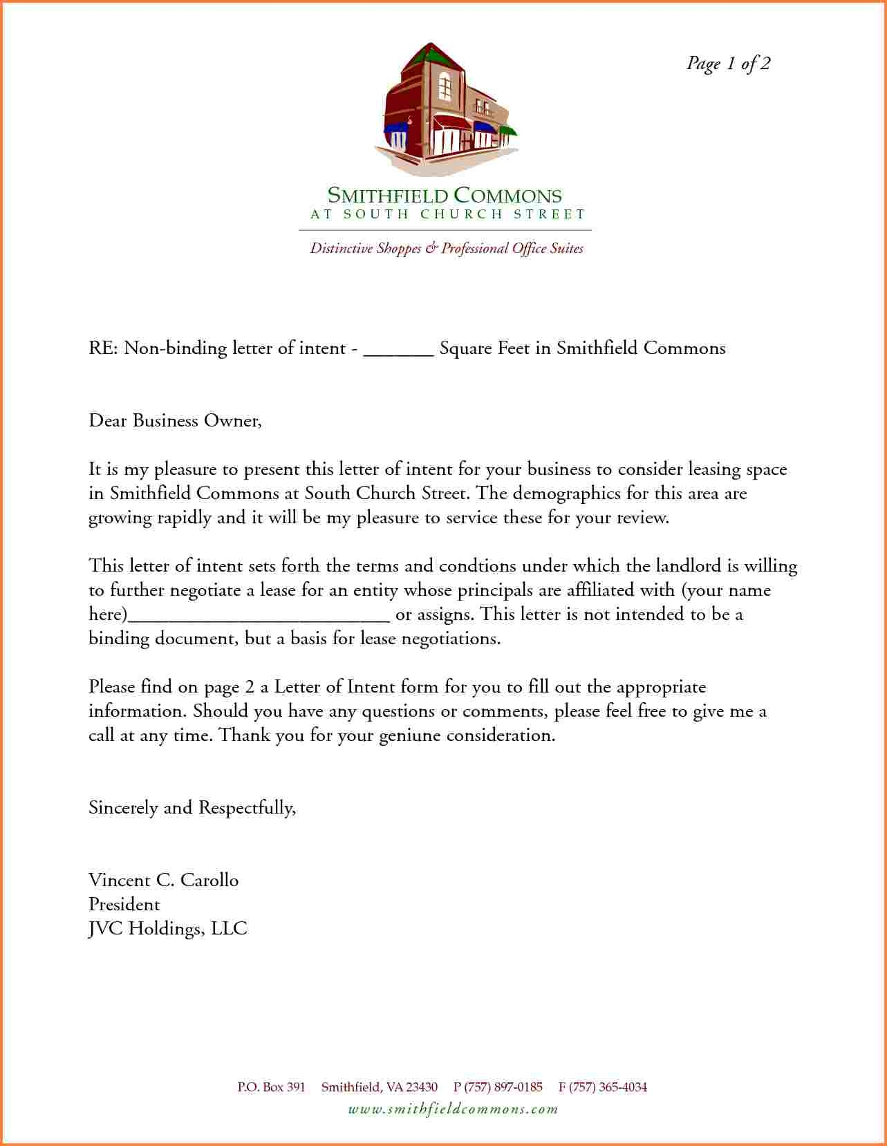 free letter of intent to lease commercial space template samples