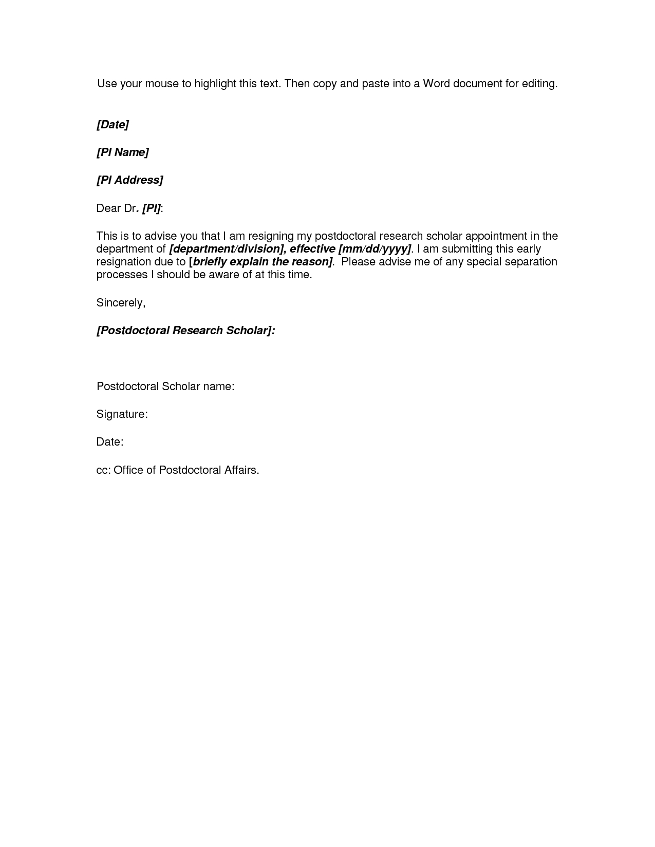 Resignation Letter Template - Microsoft Word Resignation Letter Template