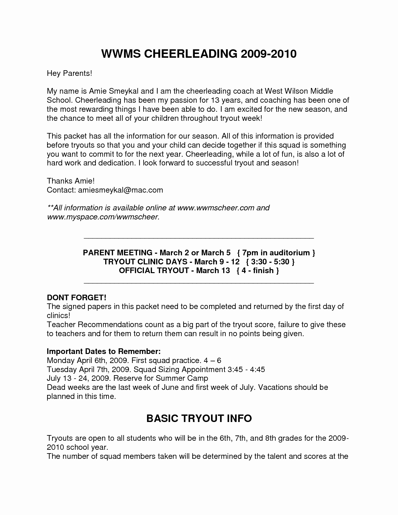 Summer Camp Letter to Parents Template - Middle School Teacher Cover Letter Samplest Year New soccer
