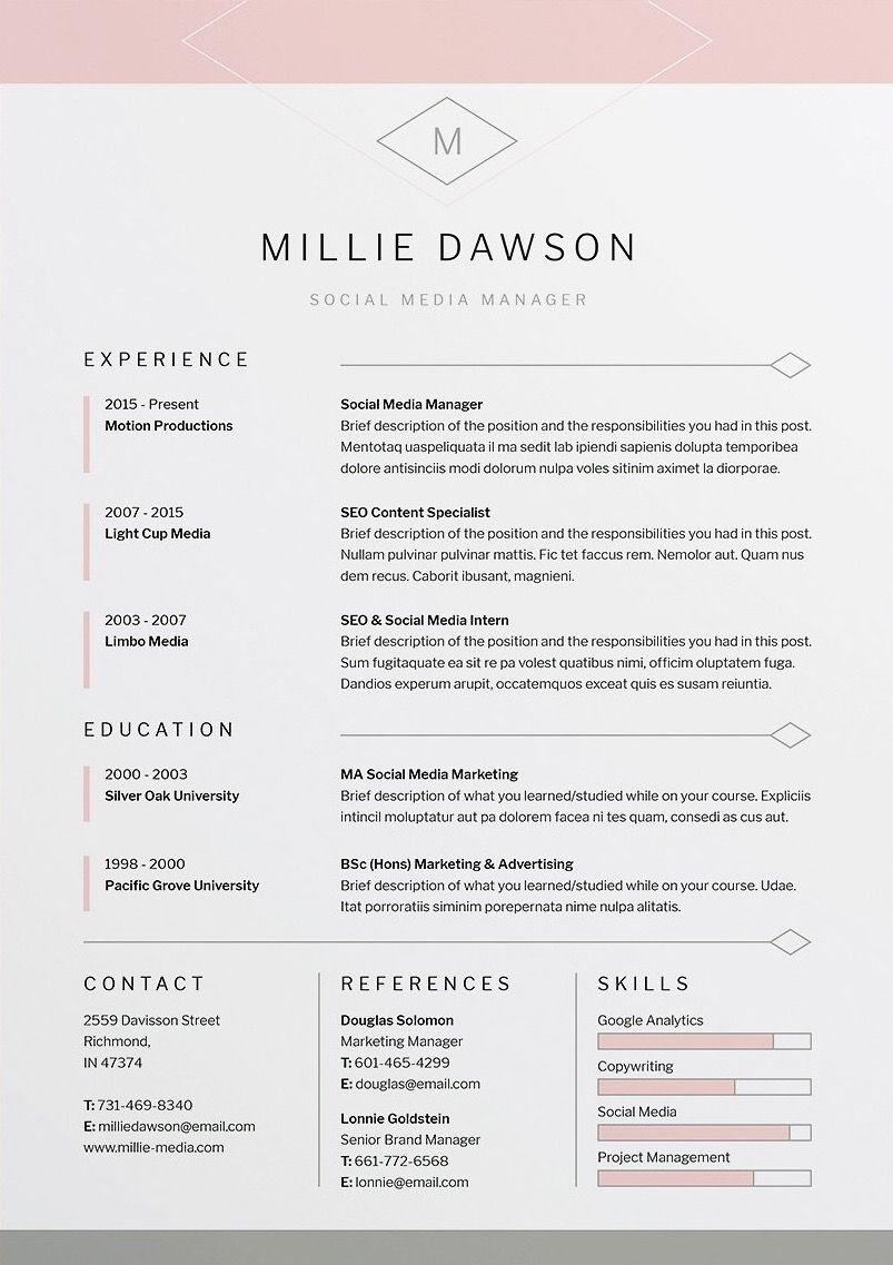 Indesign Letter Template - Millie Resume Cv Template Word Shop