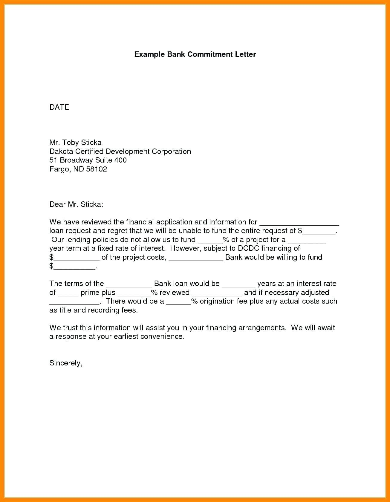 Mortgage Commitment Letter Template - Mitment Letter Sample Copy Employee Mitment Letter Sample Best
