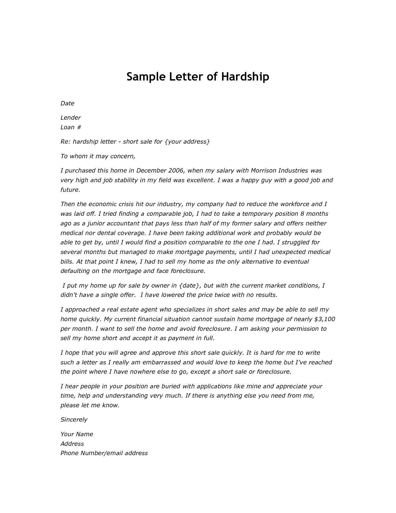 Mortgage Payment Shock Letter Template - Modification Hardship Letter Sample Letters for Loan Cover Example