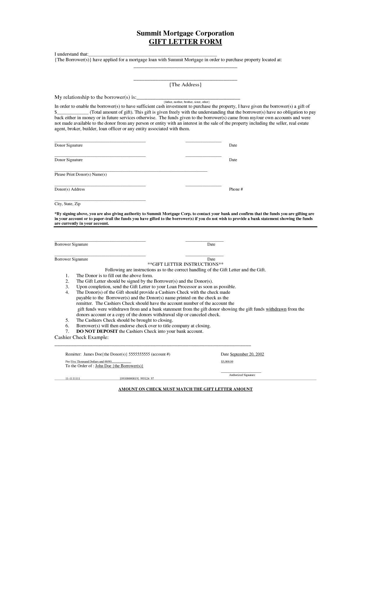 Gift Letter Template for Home Loan - Mortgage Loan Gift Letter Template Archaicawful Loan T Letter