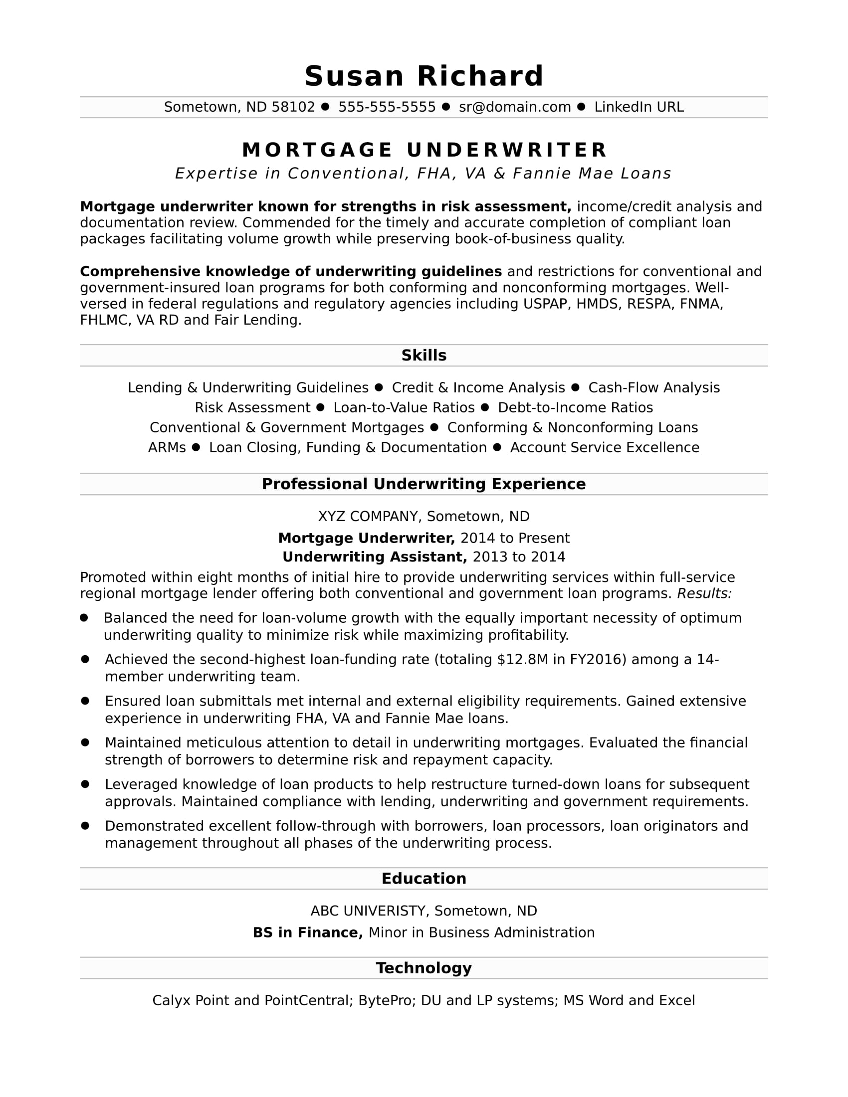 mortgage protection letter template example-Sample Resume for a Mortgage Underwriter 12-r