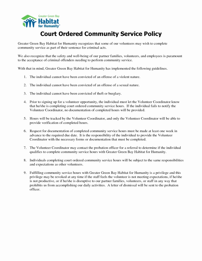 Court ordered Community Service Letter Template - Munity Service Letter Verification form Elegant Sample Munity