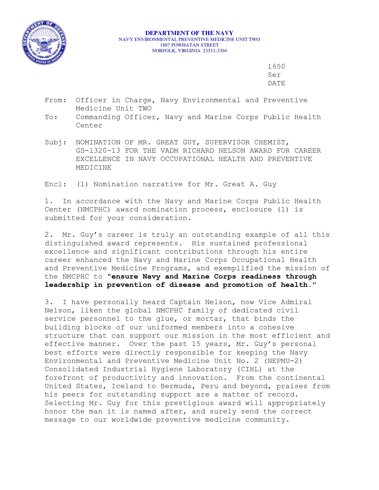 Naval Letter format Template - Naval Letter format Letter Appreciation Save Best solutions Best