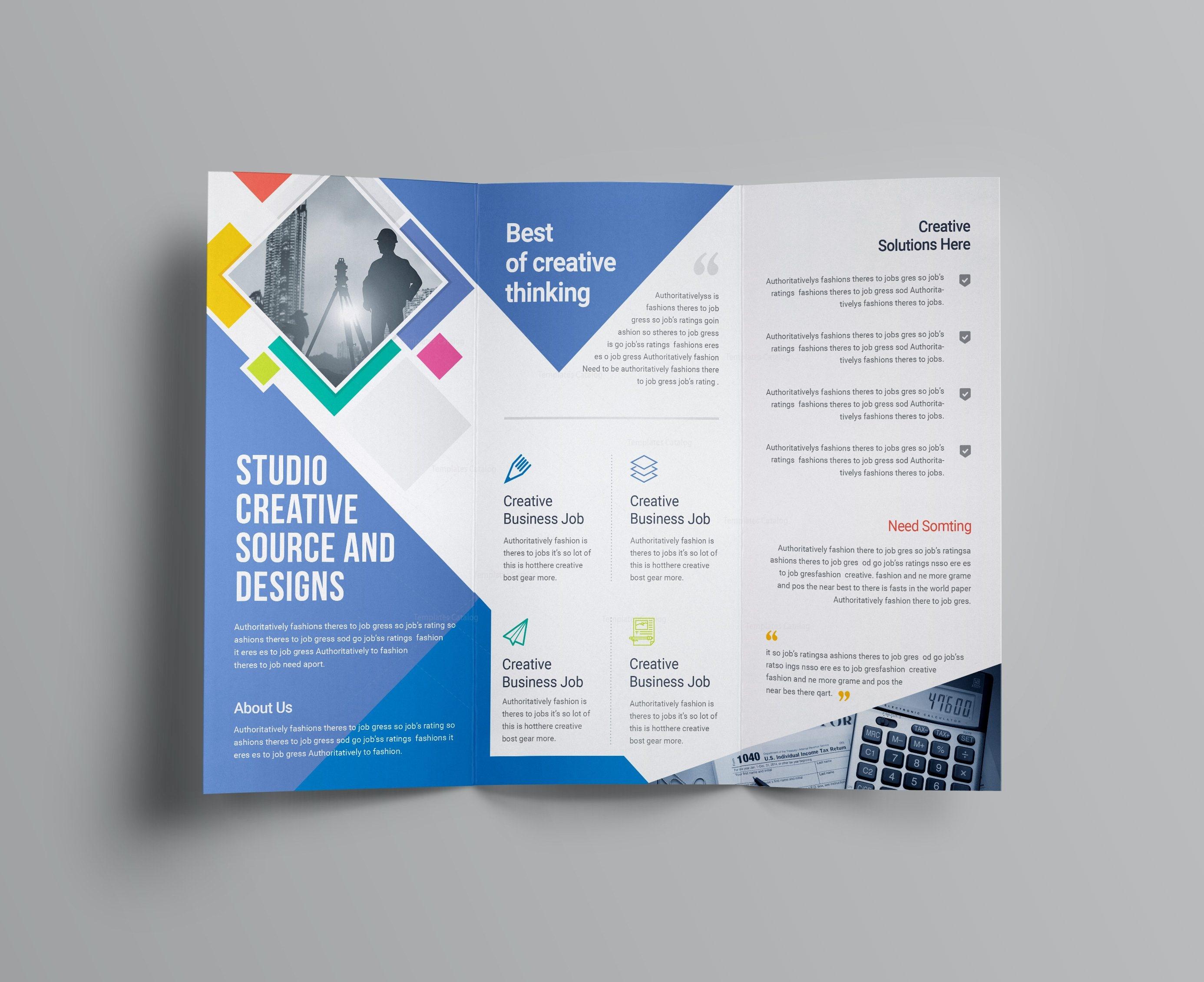 Letter Size Tri Fold Brochure Template - Neptune Professional Corporate Tri Fold Brochure Template