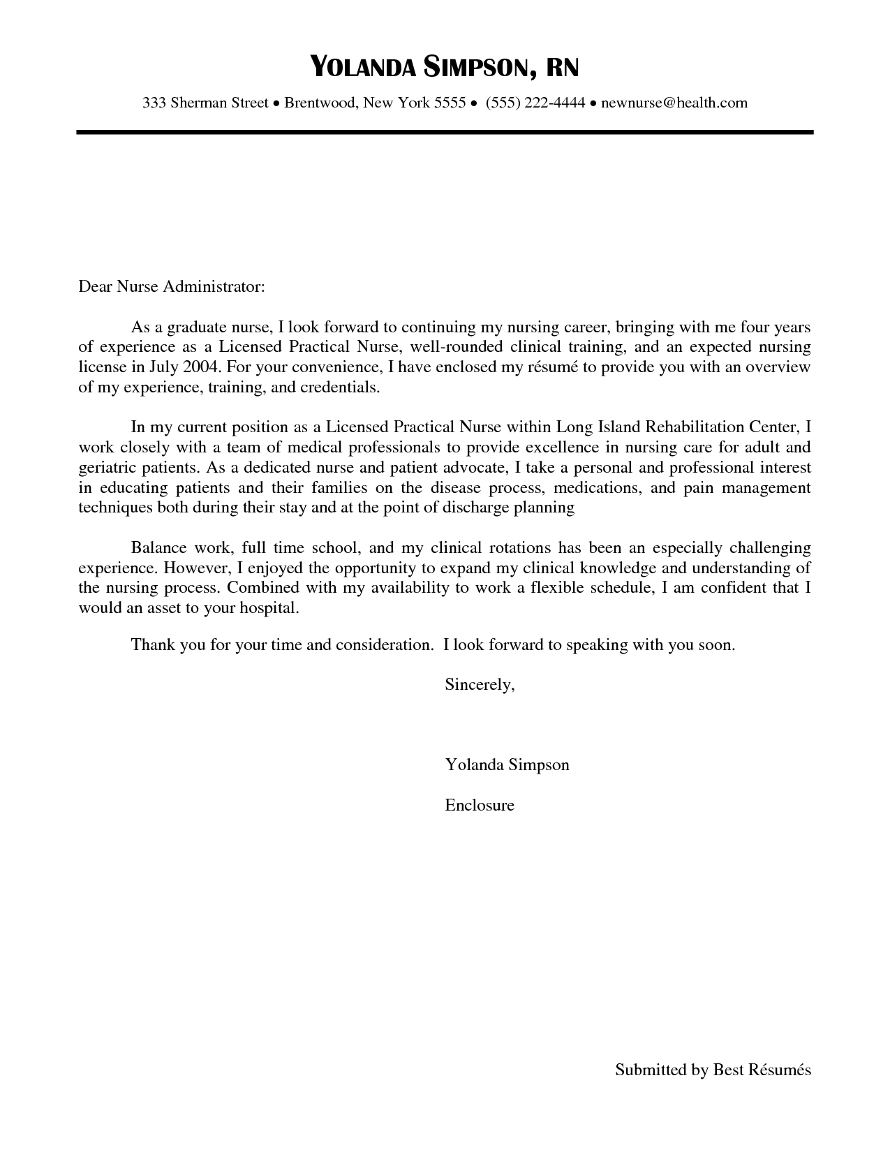 Lpn Cover Letter Template - New Grad Nurse Cover Letter Example