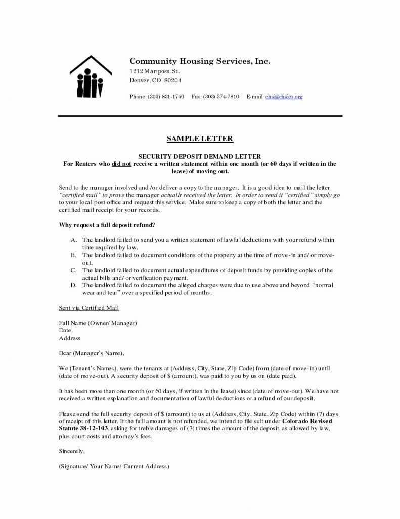 Security Deposit Demand Letter Template - New Refund Letter Best Letter format for Requesting A Refund Best
