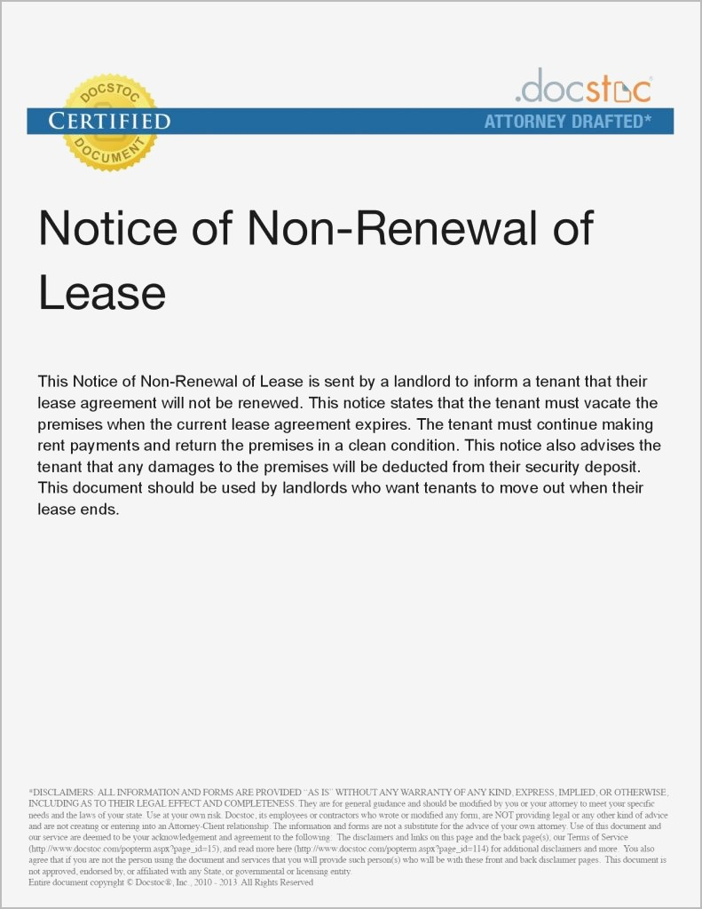 Tenancy Notice Letter Template - Non Renewal Lease Letter to Landlord Ideas
