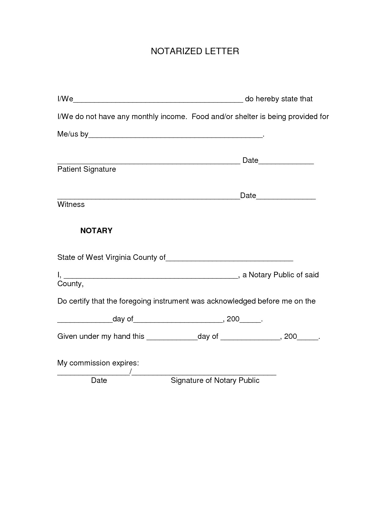Notarized Letter Template - Notarized Document Template