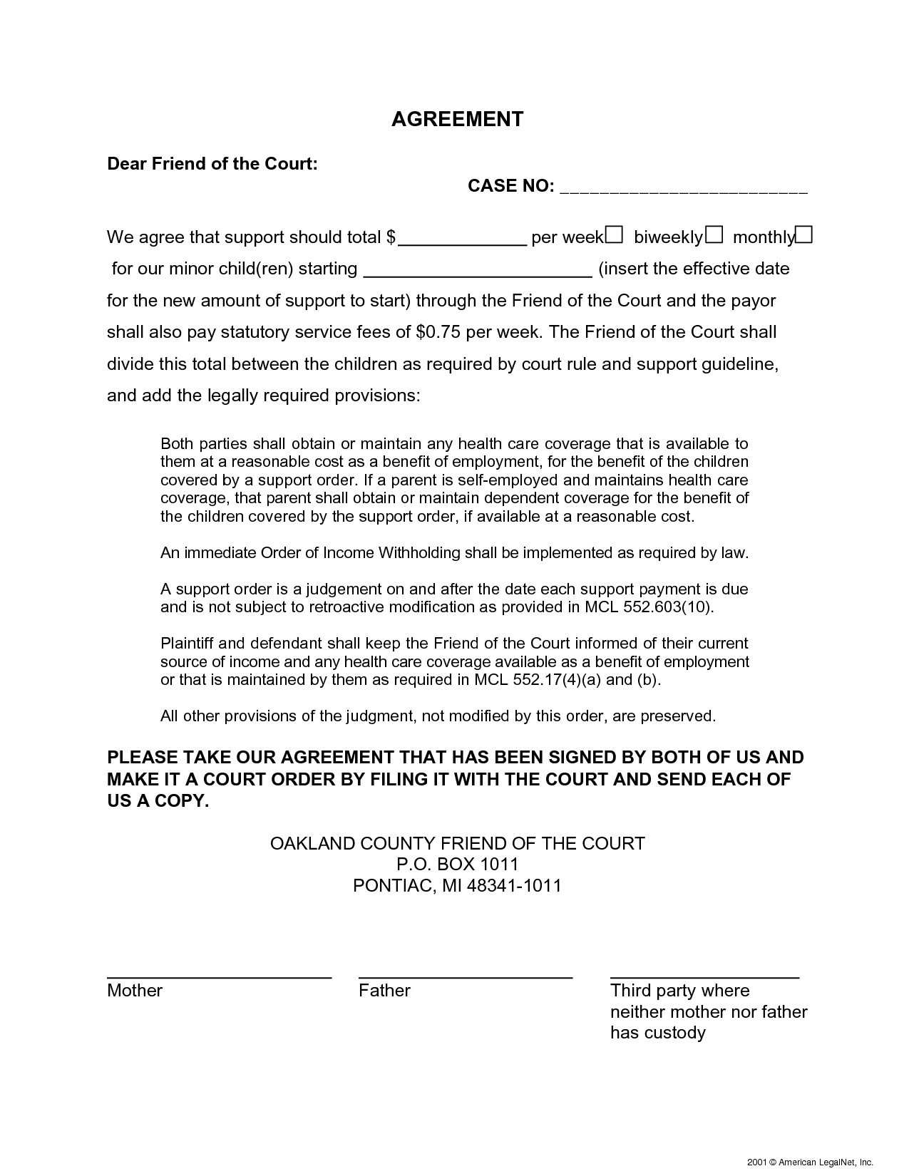 Child Support Letter Of Agreement Template Examples