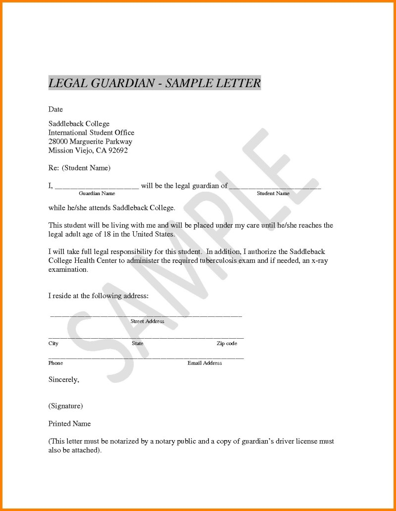 Notarized Letter for Guardianship Template - Notarized Letter for Child Custody Example