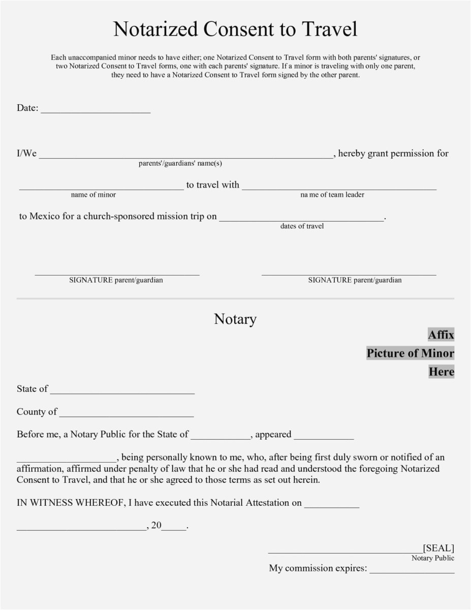 Notarized Letter Template for Child Travel - Notarized Letter Template for Child Travel New 57 Fresh Notarized