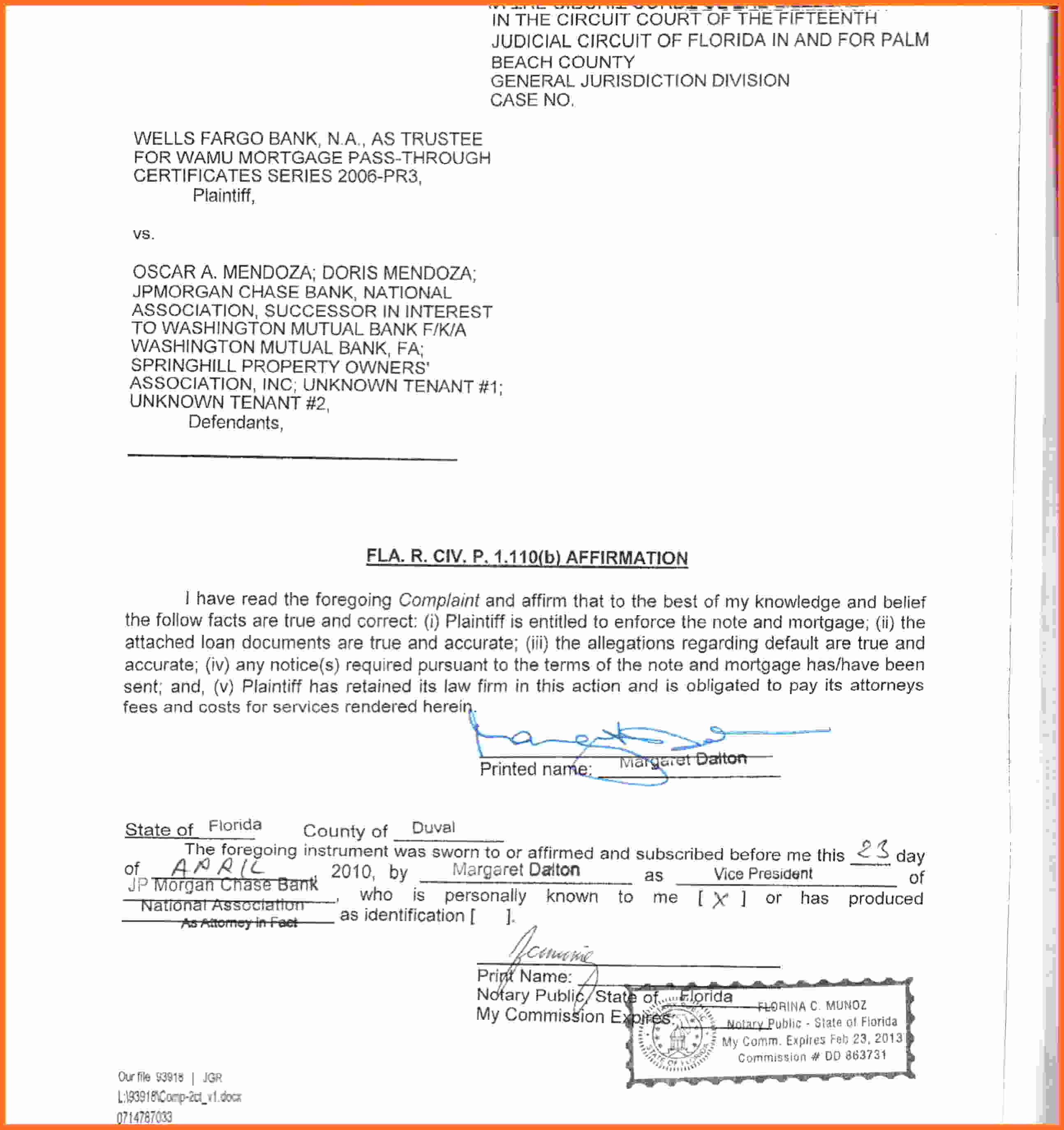 Notarized Letter Template Florida - Notarized Witness Statement Sample Lovely Affidavit forms In Pdf