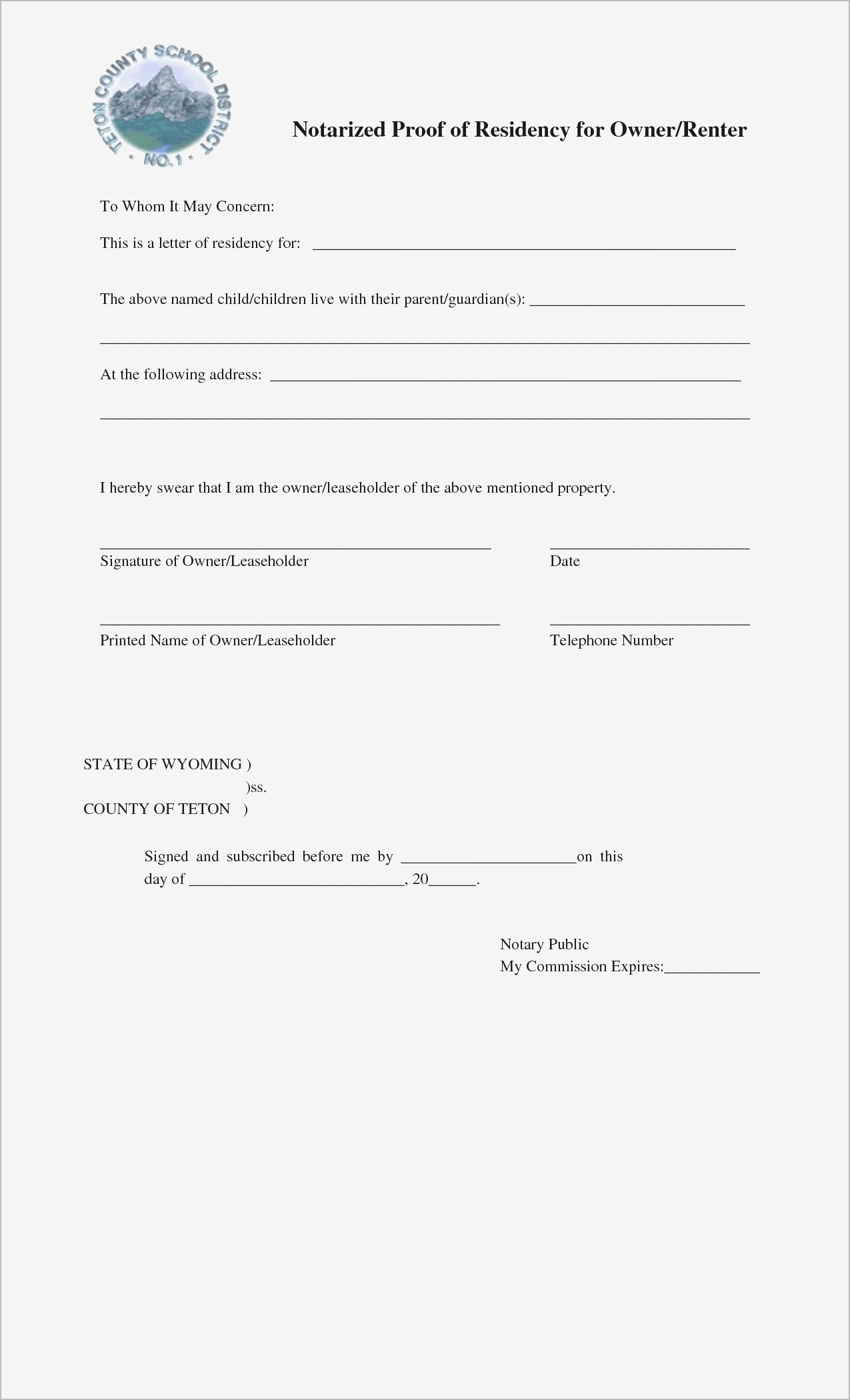 Notarized Letter Template for Residency - Notary forms New Printable Notarized Letter Residency Template