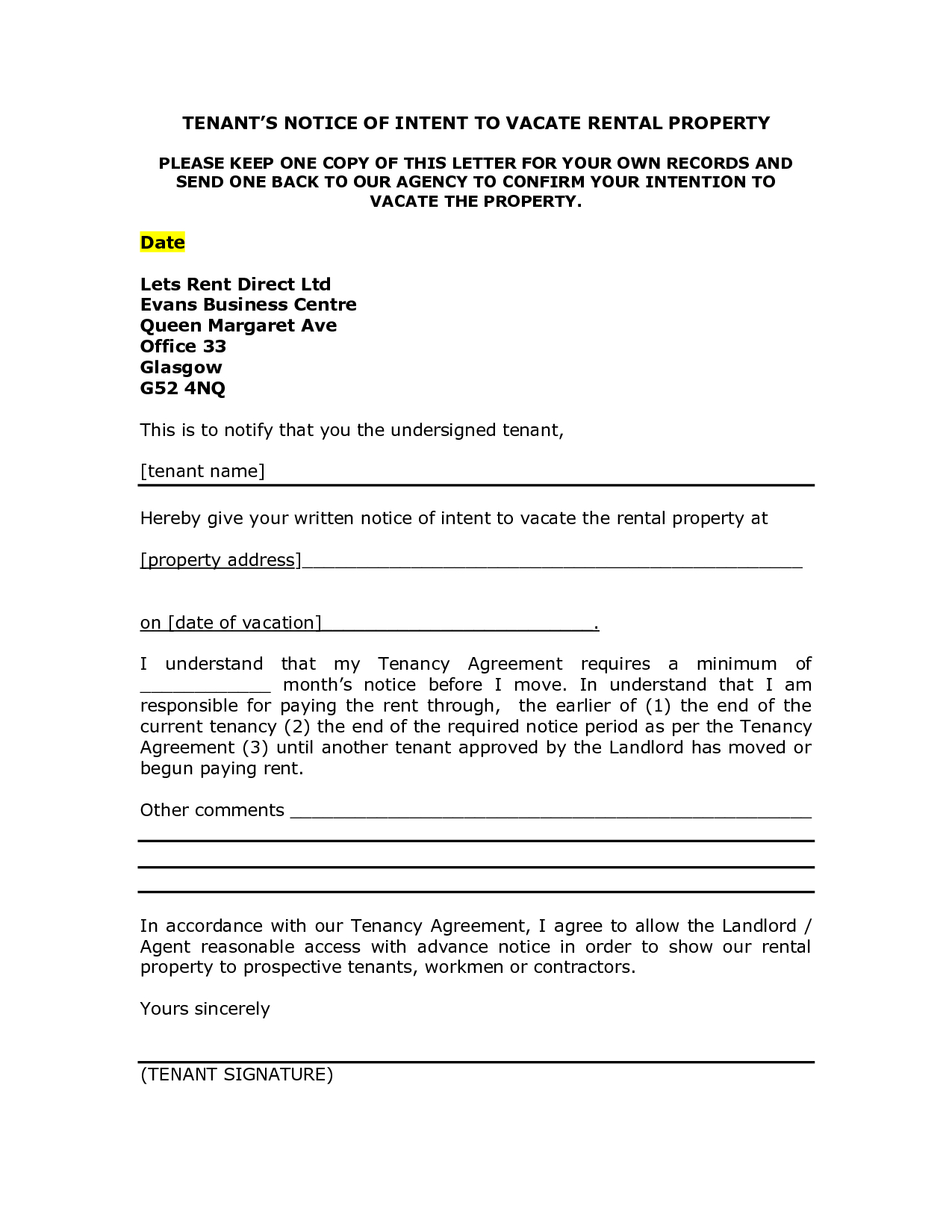 Landlord Notice Letter to Tenant Template - Notice Intent toe Rental Property Sample Letter Picture Ideas