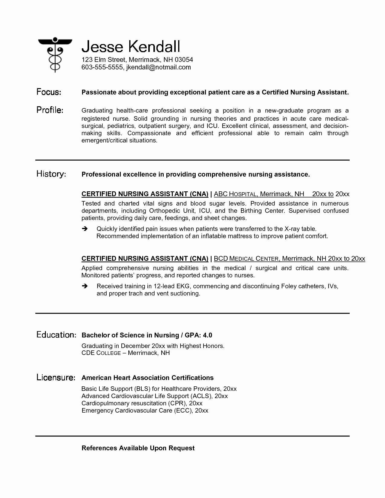 Medical Emergency Letter Template - Nursing Resume Cover Letter Beautiful Nursing Resume Samples New