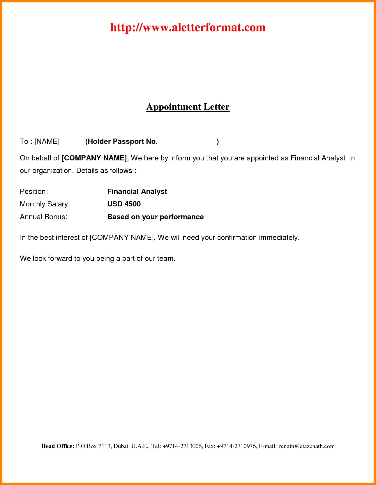 Employment Confirmation Letter Template Doc - Offer Letter format In Dubai Acurnamedia